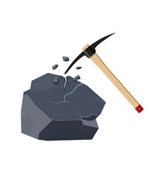 wooden pickaxe with iron tip nd rock vector image