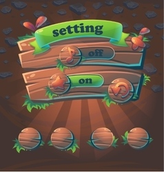 wooden user interface window setting vector image