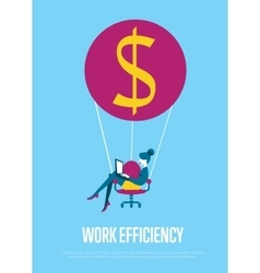 Work efficiency banner Woman with laptop flying vector