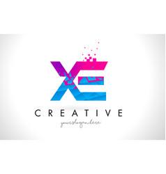 Xe x e letter logo with shattered broken blue vector