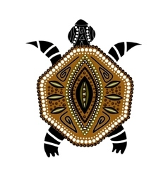 Yellow-brawn turtle in first-nation style vector