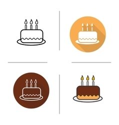 Birthday cake flat design linear and color icons vector image