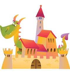 Cartoon dragon and castle vector
