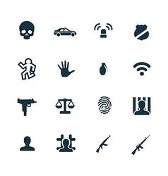 crime justice icons set vector image
