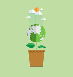 eco concept earth in plant shape vector image