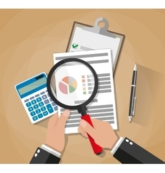 hands with magnifier analysis paper sheet vector image vector image