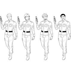 Lineart male in military uniform holds taser vector image