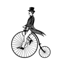 man on retro vintage old bicycle engraving vector image