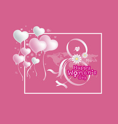 8 march happy womens day design on pink background vector image vector image