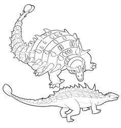 ankylosaurus lineart vector image