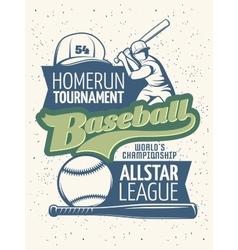 Baseball Tournament Print vector image