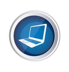 blue emblem laptop icon vector image vector image