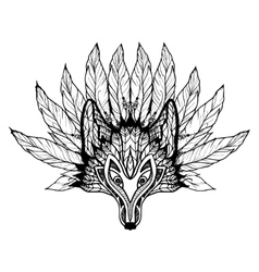Doodle Wolf Mask vector image vector image