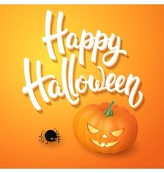 Halloween greeting card with brush lettering vector image vector image