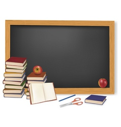 School books with apples vector
