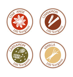 set of flat spices stamp labels 100 organic vector image