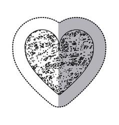 sticker monochrome of icon heart hand drawn vector image vector image