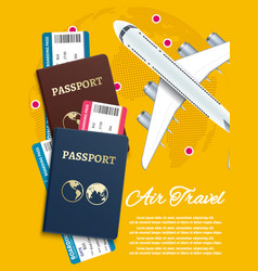 air travel banner with world globe airline tickets vector image