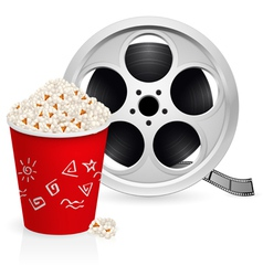 film reel and popcorn vector image