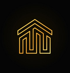 golden house building icon or logo vector image vector image