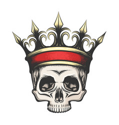 human skull in crown drawn in engraving style vector image
