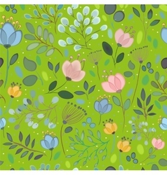 Spring Watercolor Flowers Green Seamless Pattern vector image vector image