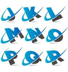 swoosh alphabet logo set 2 vector image