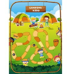 Boardgame template with camping theme vector image vector image