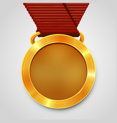 emty award gold medal with red ribbon vector image vector image