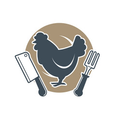 fresh and organic meat product concept with logo vector image vector image