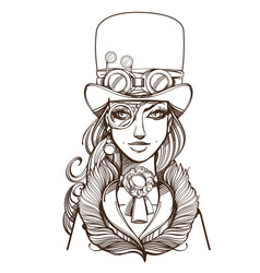 girl in a top hat and monocle portrait of a vector image