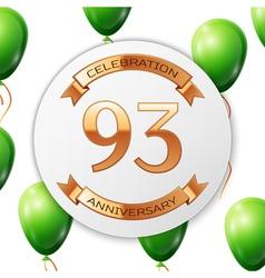 Golden number ninety three years anniversary vector image