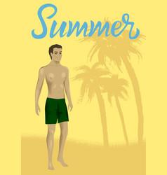 man at sand beach vector image