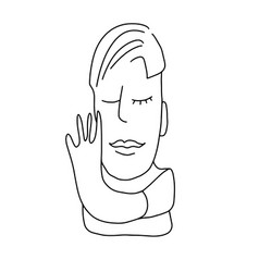 abstract drawing a man cubism line art 2 vector image