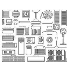 air ventilator line set icon vector image