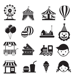 Amusement Park Mono Icons Set vector
