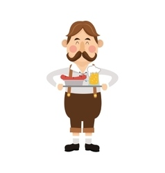 bavarian man with beer and sausage icon vector image