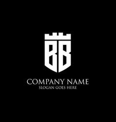 Bb initial shield logo design inspiration crown vector