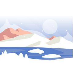 beautiful winter natural landscape scene of vector image