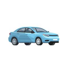 Blue car semi flat rgb color vector