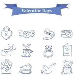 Blue icon valentine days collection vector image