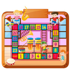 Boardgame template with kids in music class vector