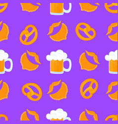 bretzel and mug beer with foam male beards and vector image