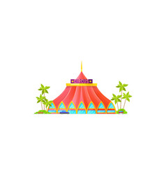 Building big top circus awning and palm trees vector