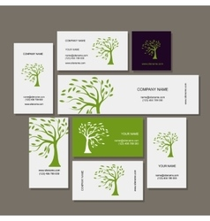 Business cards design green tree vector image