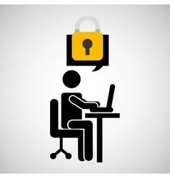 business man silhouette user laptop on desk vector image