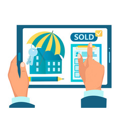 Buying real estate concluding an agreement online vector