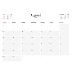 Calendar template for august 2020 business vector