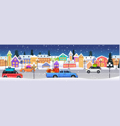 cars with gift boxes driving road over winter city vector image