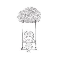 Cartoon girl swinging on a cloud art drawing by ha vector image vector image